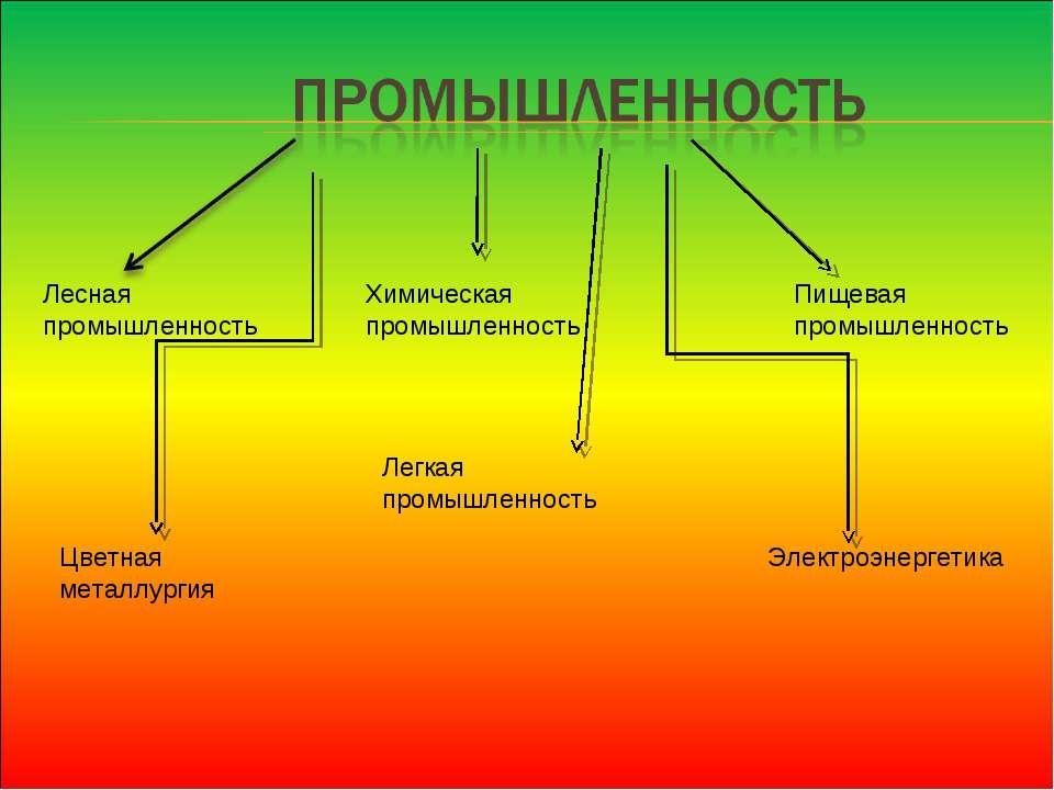 Электроэнергетика Цветная металлургия Лесная промышленность Химическая промыш...