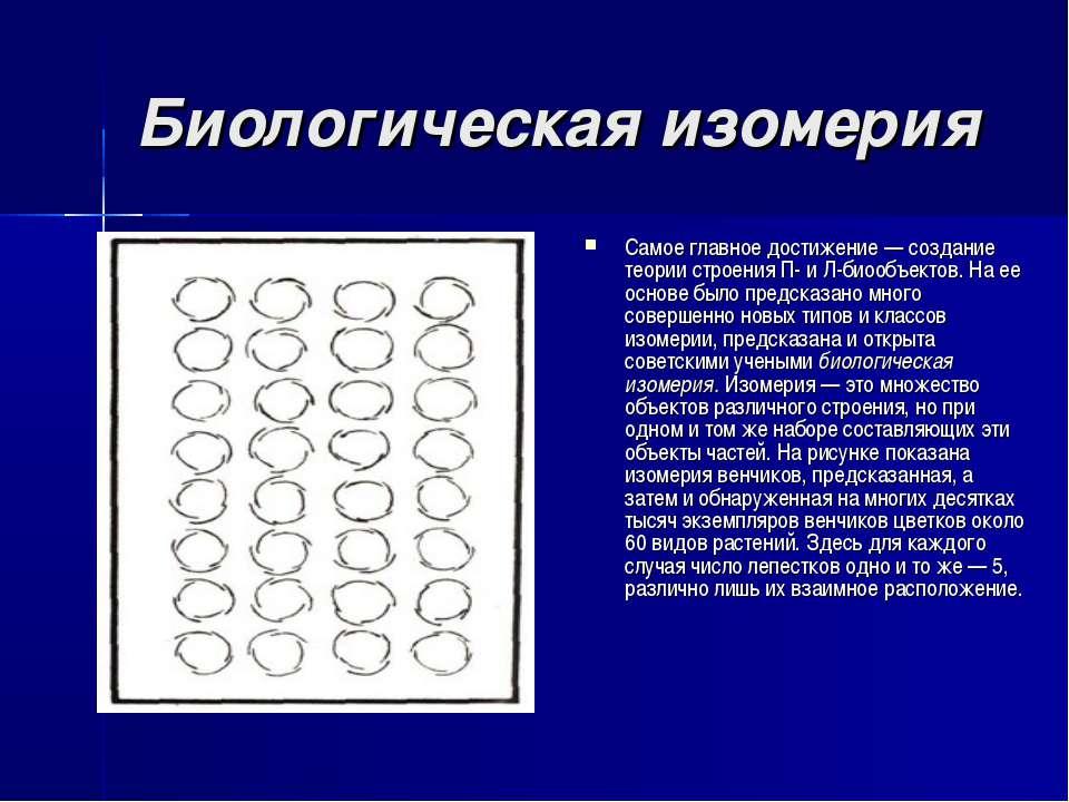 Биологическая изомерия Самое главное достижение — создание теории строения П-...