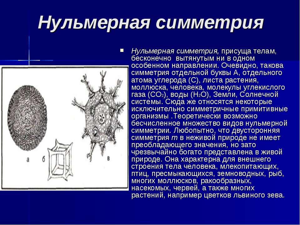 Нульмерная симметрия Нульмерная симметрия, присуща телам, бесконечно вытянуты...