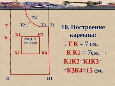 б А А1 Т Н Т1 Н1 10. Построение кармана: Т К = 7 см. К К1 = 7см. К1К2=К1К3= =...