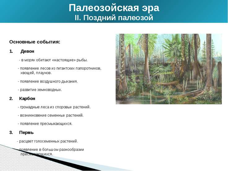 Основные события: Девон - в морях обитают «настоящие» рыбы. - появление лесов...
