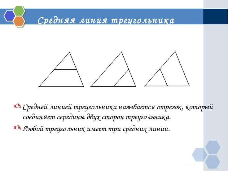 Средняя линия треугольника Средней линией треугольника называется отрезок, ко...