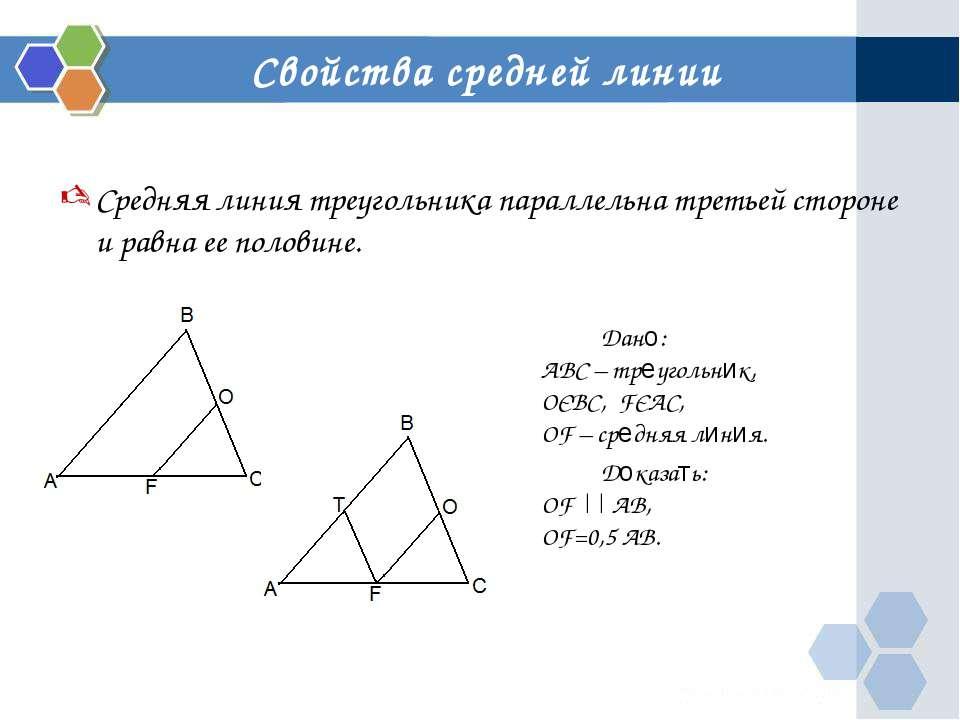Свойства средней линии Дано: ABC – треугольник, ОЄBC, FЄAC, OF – средняя лини...