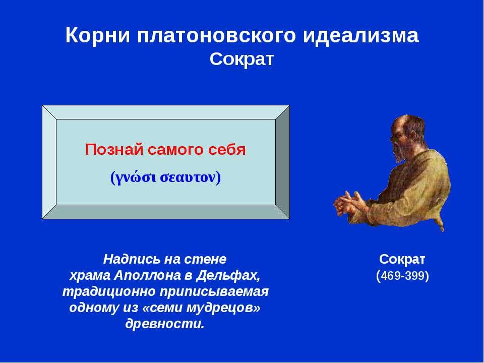 Корни платоновского идеализма Сократ Сократ (469-399) Познай самого себя (γνώ...