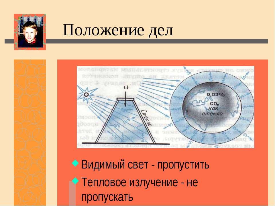Видимый свет - пропустить Тепловое излучение - не пропускать Положение дел