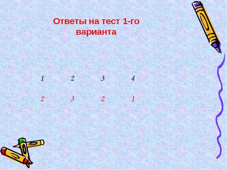 Ответы на тест 1-го варианта 1 2 3 4 2 3 2 1
