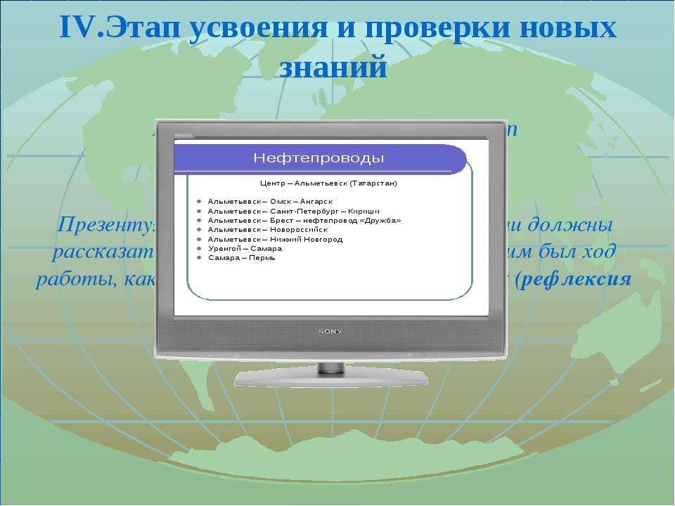 IV.Этап усвоения и проверки новых знаний Презентация работ проектных групп Пр...