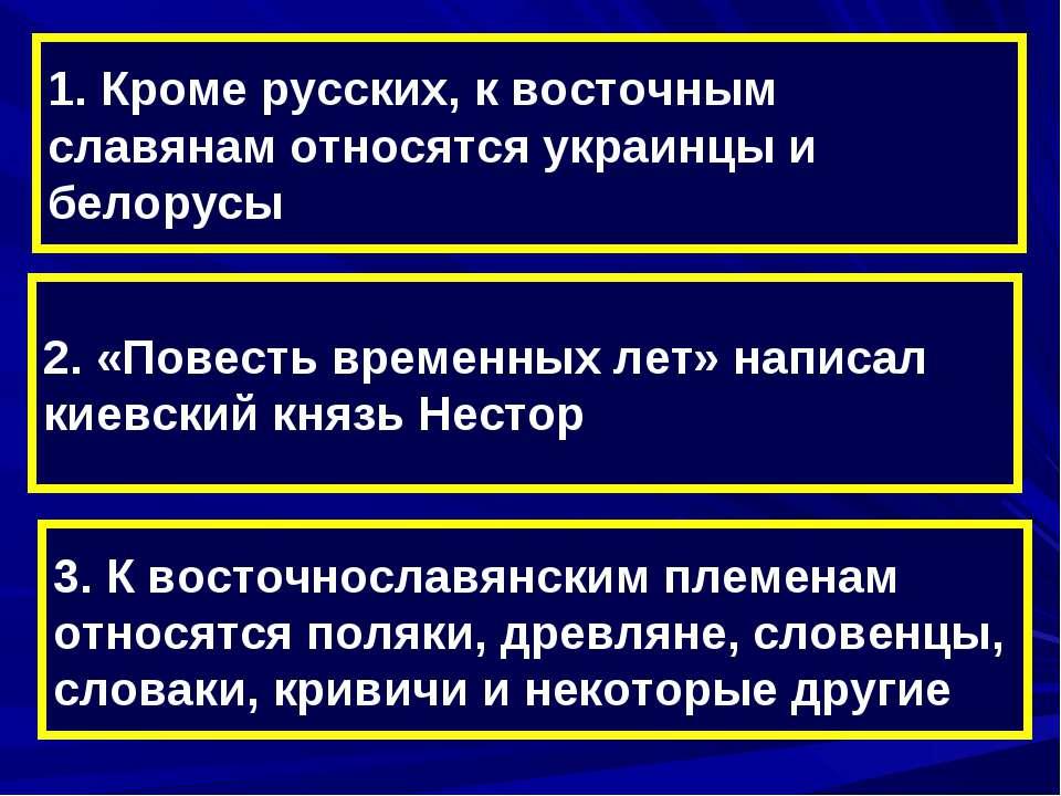 1. Кроме русских, к восточным славянам относятся украинцы и белорусы 2. «Пове...