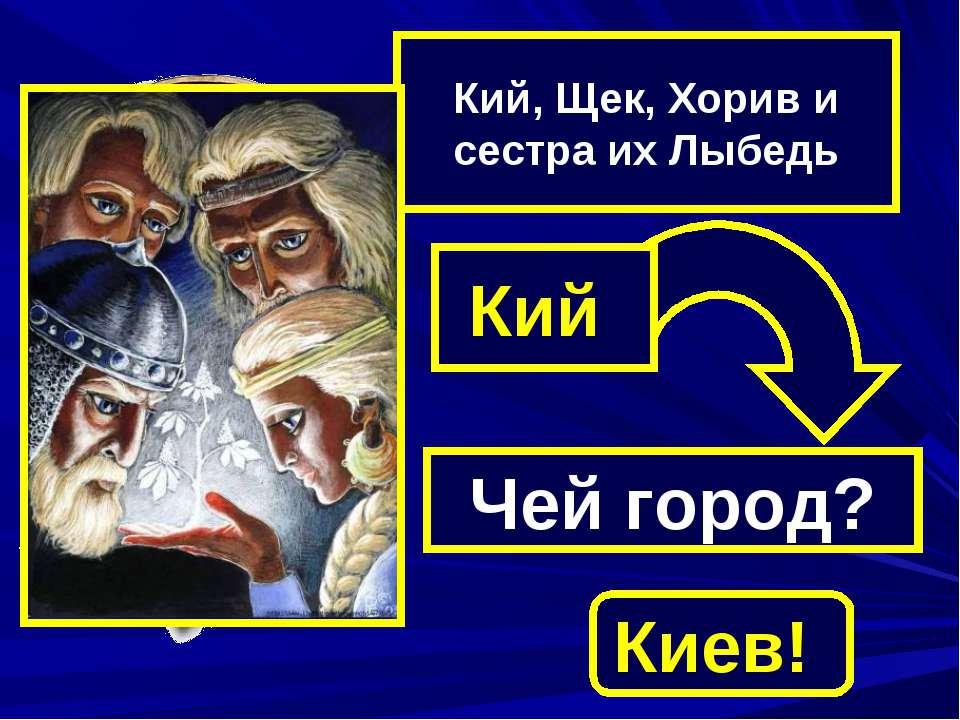 Кий, Щек, Хорив и сестра их Лыбедь Кий Чей город? Киев!