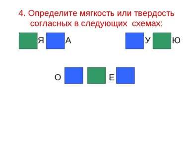 4. Определите мягкость или твердость согласных в следующих схемах: Я А У Ю О Е