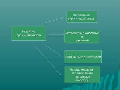 Развитие промышленности Загрязнение окружающей среды Истребление животных и р...
