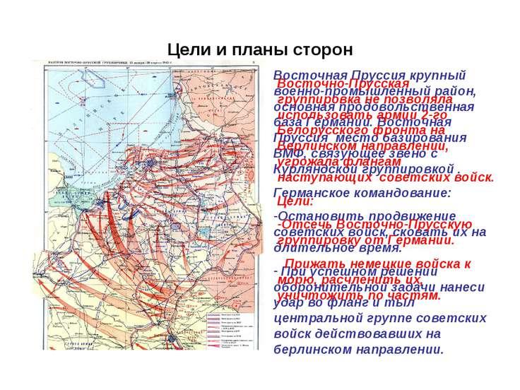 Цели и планы сторон Восточная Пруссия крупный военно-промышленный район, осно...