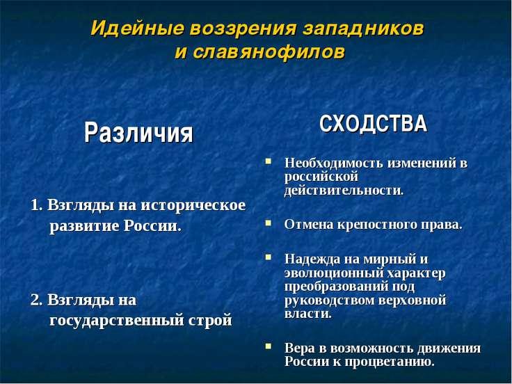 Идейные воззрения западников и славянофилов Различия 1. Взгляды на историческ...