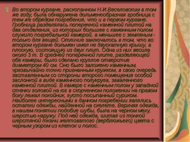 . Во втором кургане, раскопанном Н.И.Веселовским в том же году, была обнаруже...