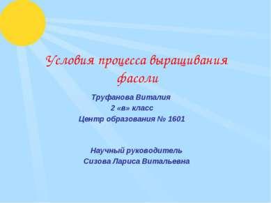 Условия процесса выращивания фасоли Труфанова Виталия 2 «в» класс Центр образ...