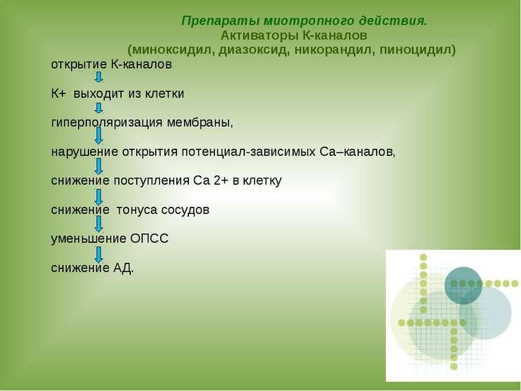 Препараты миотропного действия. Активаторы К-каналов (миноксидил, диазоксид, ...