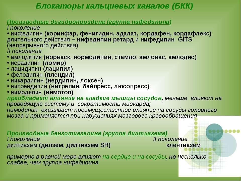 Блокаторы кальциевых каналов (БКК) Производные дигидропиридина (группа нифеди...