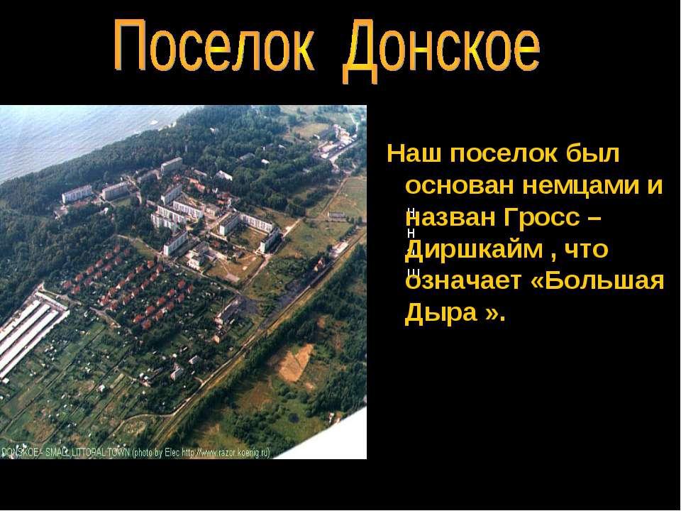 ннаш Наш поселок был основан немцами и назван Гросс –Диршкайм , что означает ...