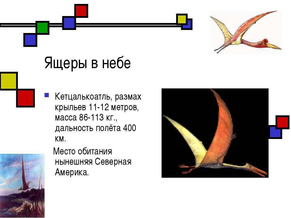Ящеры в небе Кетцалькоатль, размах крыльев 11-12 метров, масса 86-113 кг., да...
