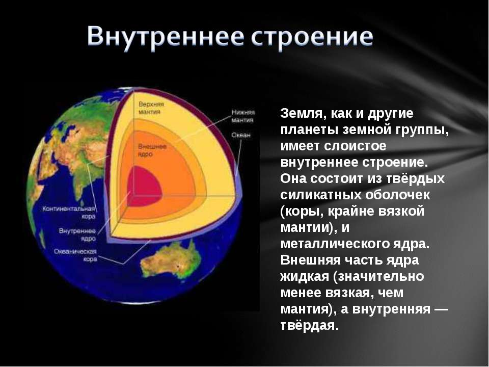 Земля, как и другие планеты земной группы, имеет слоистое внутреннее строение...