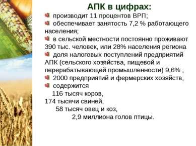 АПК в цифрах: производит 11 процентов ВРП; обеспечивает занятость 7,2 % работ...