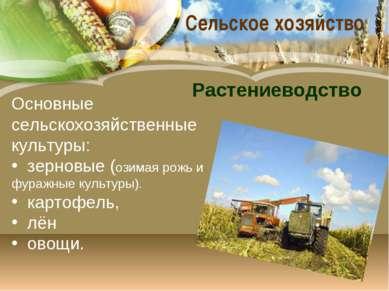 Сельское хозяйство Основные сельскохозяйственные культуры: зерновые (озимая р...