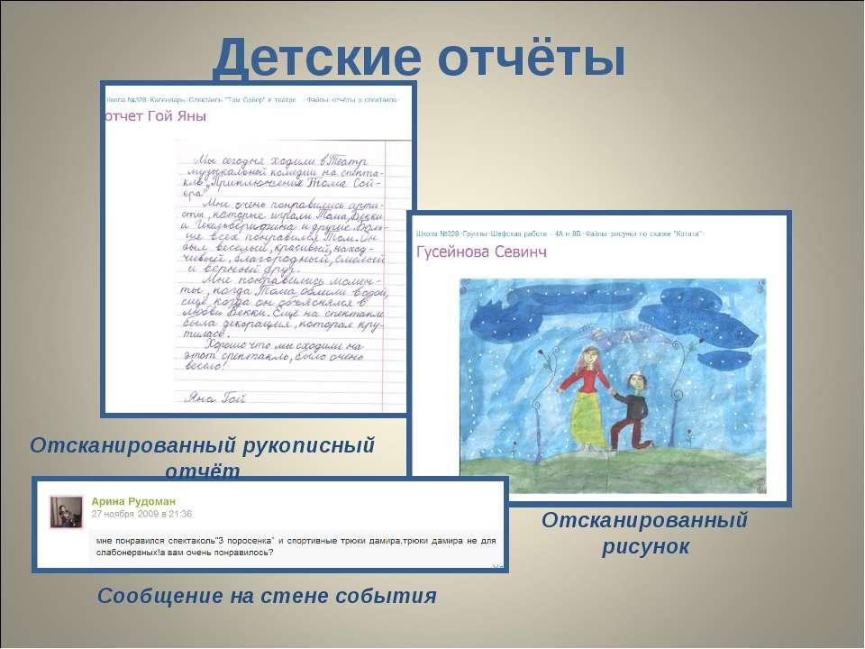 Детские отчёты Отсканированный рукописный отчёт Отсканированный рисунок Сообщ...