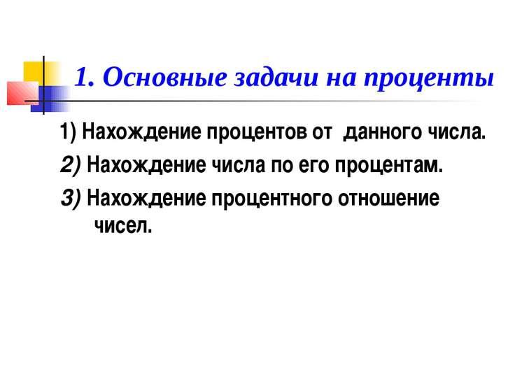 1. Основные задачи на проценты 1) Нахождение процентов от данного числа. 2) Н...