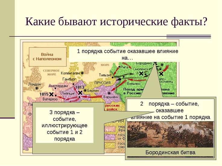 Какие бывают исторические факты? 1 порядка событие оказавшее влияние на… поря...
