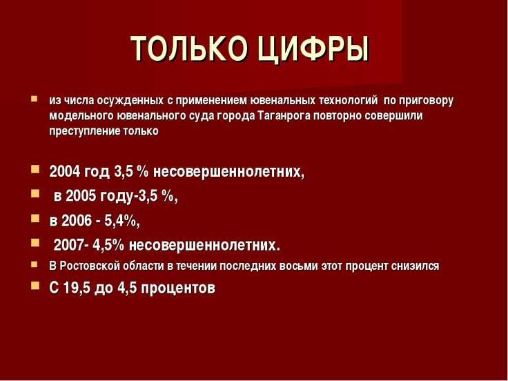 ТОЛЬКО ЦИФРЫ из числа осужденных с применением ювенальных технологий по приго...