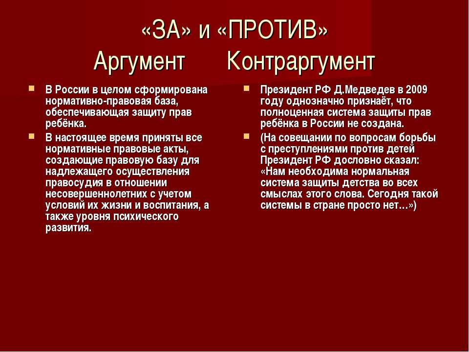 «ЗА» и «ПРОТИВ» Аргумент Контраргумент В России в целом сформирована норматив...