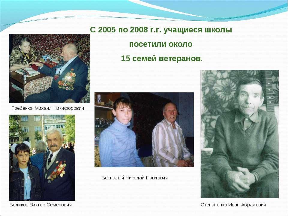 С 2005 по 2008 г.г. учащиеся школы посетили около 15 семей ветеранов. Беликов...