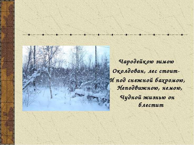 Чародейкою зимою Околдован, лес стоит- И под снежной бахромою, Неподвижною, н...