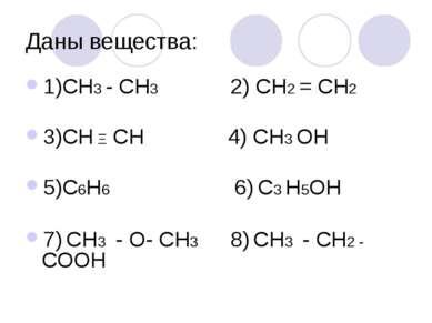 Даны вещества: 1)СН3 - СН3 2) СН2 = СН2 3)СН Ξ СН 4) СН3 ОН 5)С6Н6 6) С3 Н5ОН...
