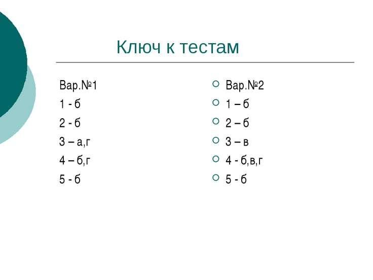 Ключ к тестам Вар.№1 1 - б 2 - б 3 – а,г 4 – б,г 5 - б Вар.№2 1 – б 2 – б 3 –...