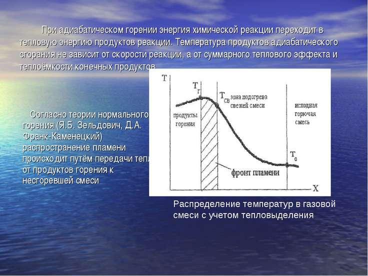 При адиабатическом горении энергия химической реакции переходит в тепловую эн...