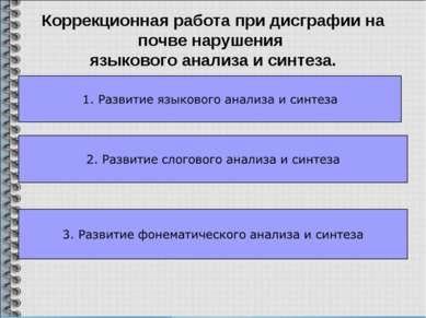 Коррекционная работа при дисграфии на почве нарушения языкового анализа и син...