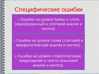 Специфические ошибки 1. Ошибки на уровне буквы и слога (звукобуквенный и слог...