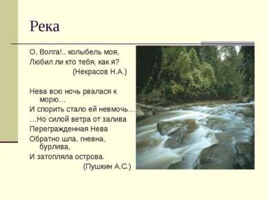 Река О, Волга!.. колыбель моя, Любил ли кто тебя, как я? (Некрасов Н.А.) Нева...