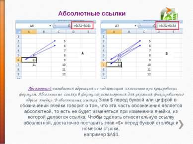 Абсолютные ссылки Абсолютной называется адресация не подлежащая изменению при...
