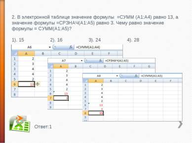 2. В электронной таблице значение формулы =СУММ (А1:А4) равно 13, а значение ...