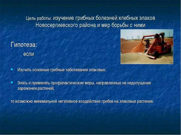 Цель работы: изучение грибных болезней хлебных злаков Новосергиевского района...