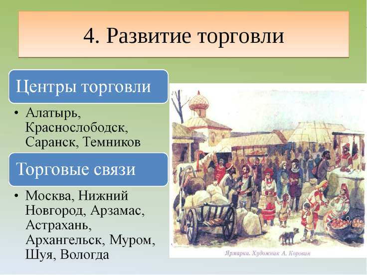 4. Развитие торговли