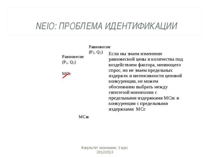 NEIO: ПРОБЛЕМА ИДЕНТИФИКАЦИИ Факультет экономики, 3 курс 2012/2013 Факультет ...