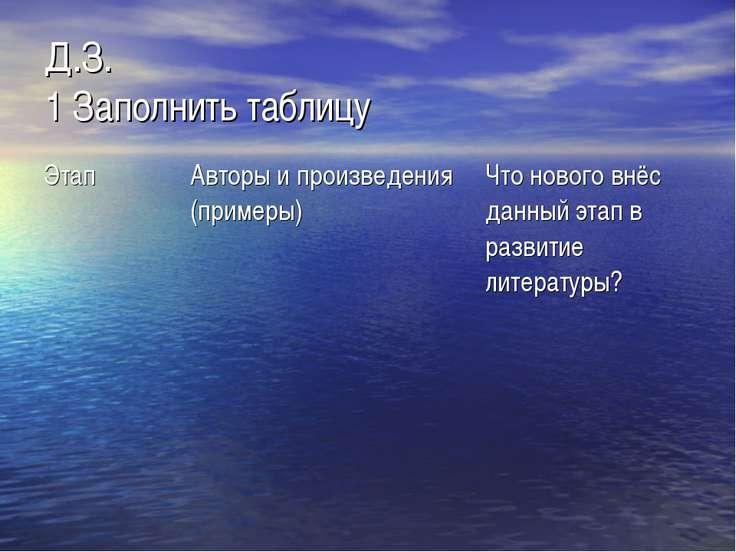 Д.З. 1 Заполнить таблицу Этап Авторы и произведения (примеры) Что нового внёс...