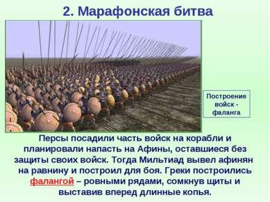 2. Марафонская битва Персы посадили часть войск на корабли и планировали напа...