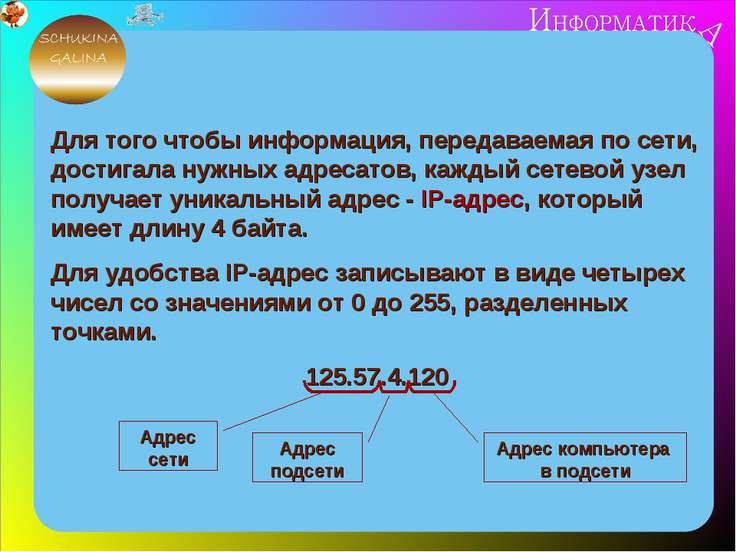 Для того чтобы информация, передаваемая по сети, достигала нужных адресатов, ...
