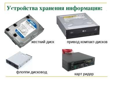 Устройства хранения информации: привод компакт-дисков карт ридер жесткий диск...