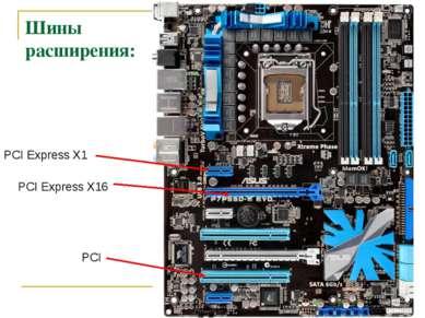 Шины расширения: PCI Express X16 PCI Express X1 PCI
