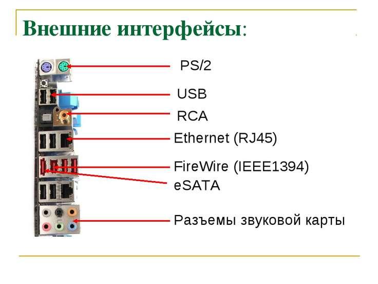 Внешние интерфейсы: PS/2 USB Ethernet (RJ45) FireWire (IEEE1394) eSATA Разъем...